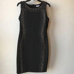 CALVIN KLEIN Black Sleeveless Embellished Dress 8